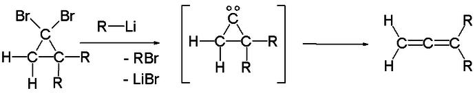In der Skattebøl-Umlagerung wird intermediär ein Carben gebildet.