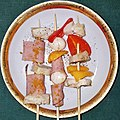 Skewers of chickem, ham, bell pepper, and pickled quails egg, with curry powder and black pepper - Massachusetts.jpg