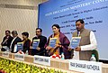 Smriti Irani releasing a brochure of UGC Scheme at the 'State Education Ministers Conference', in New Delhi. The Minister of State for Human Resource Development, Shri Upendra Kushwaha.jpg