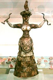 "The ""Snake Goddess"" statuette of ancient Minoan Civilization represents a woman in clothing that exposes the breasts."