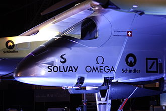 Solar Impulse - Solar Impulse 1 on display at John F. Kennedy International Airport, New York, on 14 July 2013.
