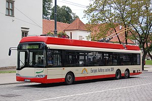 Trolleybuses in Vilnius - A Solaris 15AC trolleybus in Vilnius, 2006.