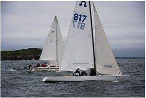 Soling - Soling in Boston Harbor, sailing through Hypocrite Channel