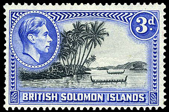 History of the Solomon Islands - Postage stamp with portrait of King George VI, 1939