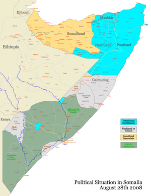 War in Somalia (2006–2009) - Situation in Somalia in August 2008