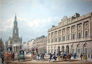 St Mary le Strand - A 19th century print showing St Mary le Strand and the Strand front of Somerset House.