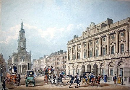 A 19th-century print showing St Mary le Strand and the Strand front of Somerset House SomersetHousebyAnonpublAckermann&Co1836.jpg