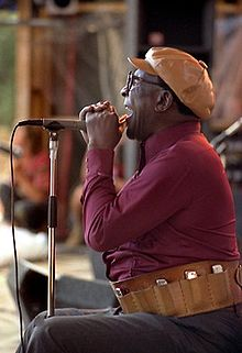 Terry seated before a microphone with harmonica