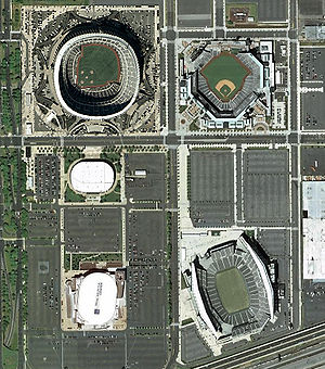 South Philadelphia Sports Complex - The South Philadelphia Sports Complex as it existed in 2003–2004.  Clockwise from top right: Citizens Bank Park, Lincoln Financial Field, Wells Fargo Center (formerly the site of John F. Kennedy Stadium), the Spectrum (razed in 2011), and Veterans Stadium (imploded in 2004). Interstate 95 can be seen running through the bottom right corner of the photo.