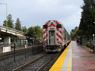 San Antonio station (Caltrain) - A southbound train leaving San Antonio station in 2018