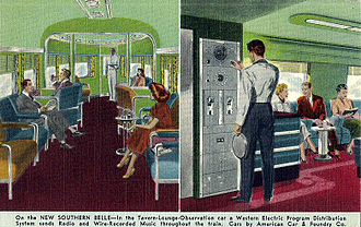 Southern Belle (KCS train) - Postcard depiction, circa 1948, of the tavern-observation car. A radio allowed broadcasts and music to be heard throughout the train.