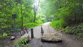 Van Cortlandt Park - One of the park's entrances/exits at the city border