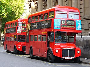 London Buses route 13 - London Sovereign AEC Routemasters in Aldwych in August 2005