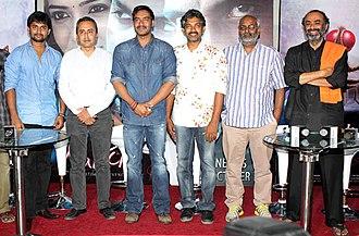 Eega - Left to right: Nani, Sanjeev Lamba, Ajay Devgan, S. S. Rajamouli, M. M. Keeravani, and Suresh Babu at the special screening of Makkhi, the Hindi dubbed version of Eega, in Mumbai