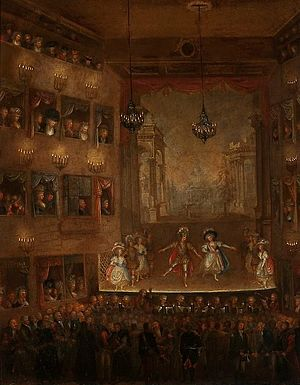 National Theatre, Warsaw - Play in the presence of king Stanisław Augustus, 1790. The painting depicts the interior of the first National Theatre in Warsaw situated at the Krasiński Square
