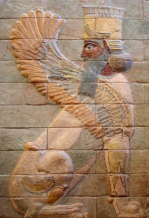 Winged sphinx from Darius' palace at Susa. Gla...