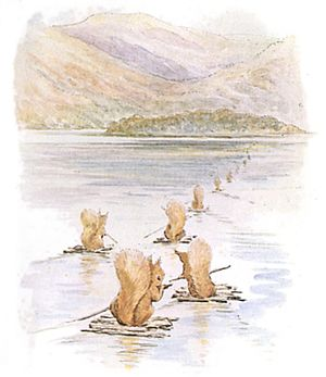 The Tale of Squirrel Nutkin - The squirrels set sail on their rafts for Owl Island