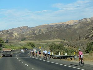 California State Route 126 - Cyclists along SR 126 near Piru.