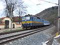 Srbsko, vlak s novým nátěrem, průjezd.JPG