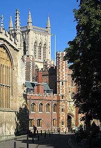 St John's College, Cambridge old gatehouse wit...