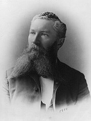 Portrait of a white man with wavy hair and a long, forked beard, wearing a suit.