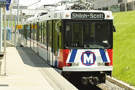 St. Louis MetroLink Red Line train leaving St. Louis Union Station St Louis Metrolink train.jpg