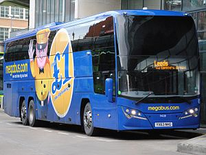 Volvo B11R - Megabus Plaxton Elite ''i'' bodied B11R at Manchester Shudehill Interchange in September 2013