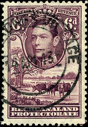 "History of Gaborone - A postage stamp c.1943, the postmark reading ""Gaberone's Village"""