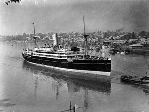 HMAS Westralia (F95) - Westralia in her pre-war configuration, on the Brisbane River