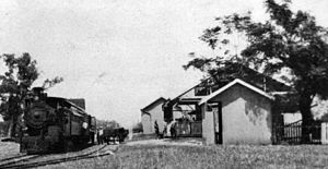 Great Northern Railway (Mt Isa line) - Hughenden mail train arrives at Pentland Railway Station, 1929