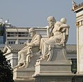 Statues of Plato (left) and Socrates (right) by Leonidas Drosis at the Academy of Athens.jpg