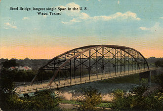 Waco, Texas - Washington Avenue Bridge (postcard, circa 1908), built in 1902, it was the longest single-span steel bridge in the world.