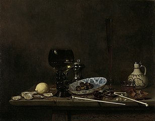 Still life with wineglass, flute glass, earthenware jug and pipes