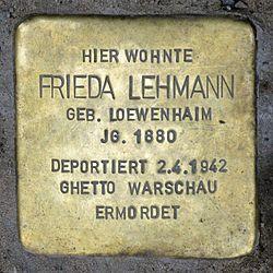 Photo of Frieda Lehmann brass plaque