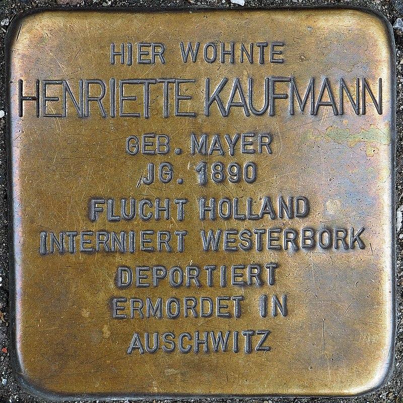 Stolperstein Geldern Hartstraße 2 Henriette Kaufmann