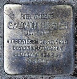 Photo of Salomon Bikales brass plaque