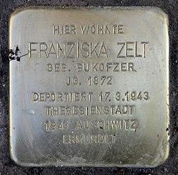 Photo of Franziska Zelt brass plaque