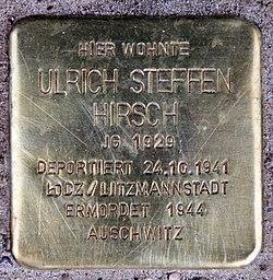 Photo of Ulrich Steffen Hirsch brass plaque