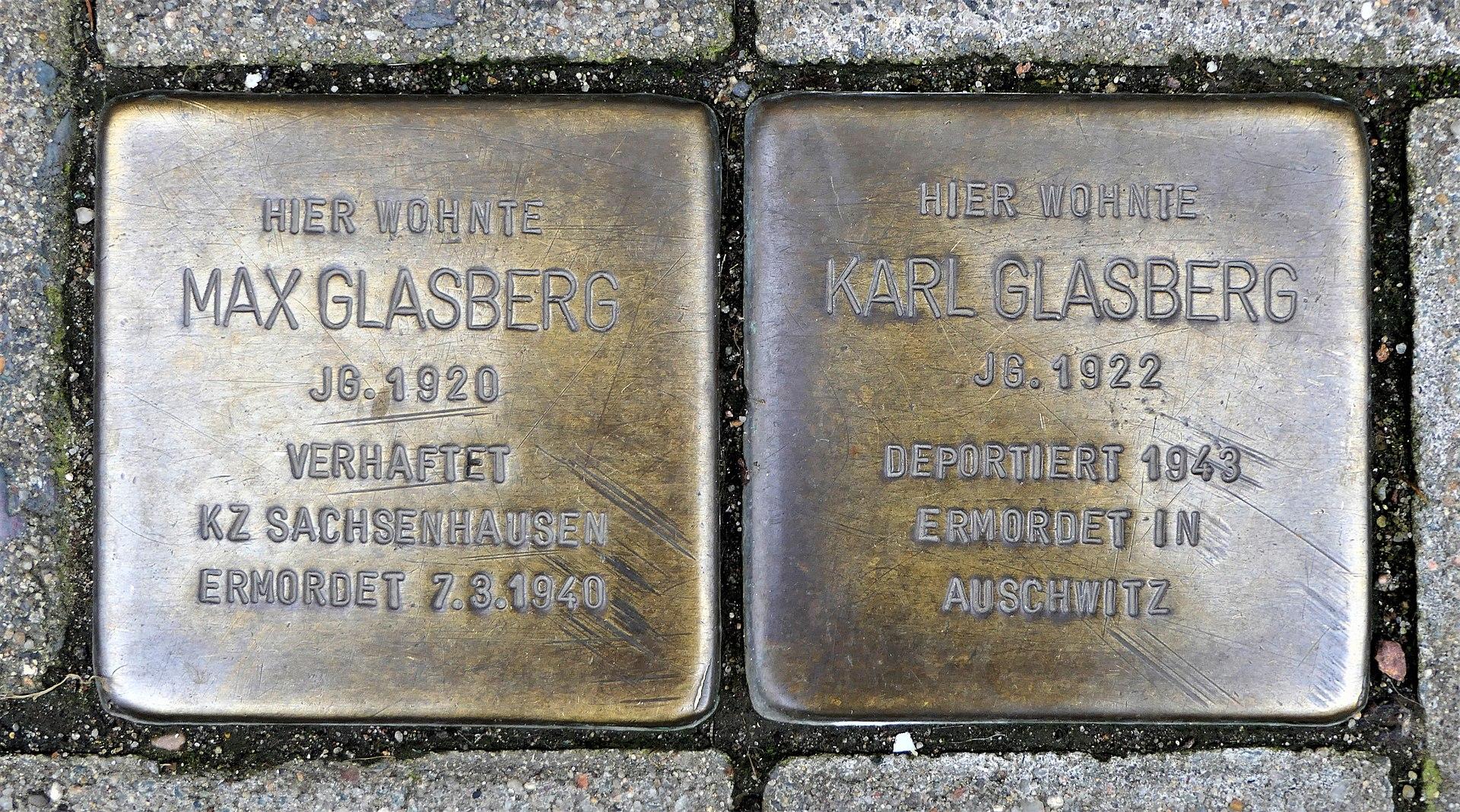 Stolpersteine für Max und Karl Glasberg, Bahnhofstrasse 73, Döbeln.JPG