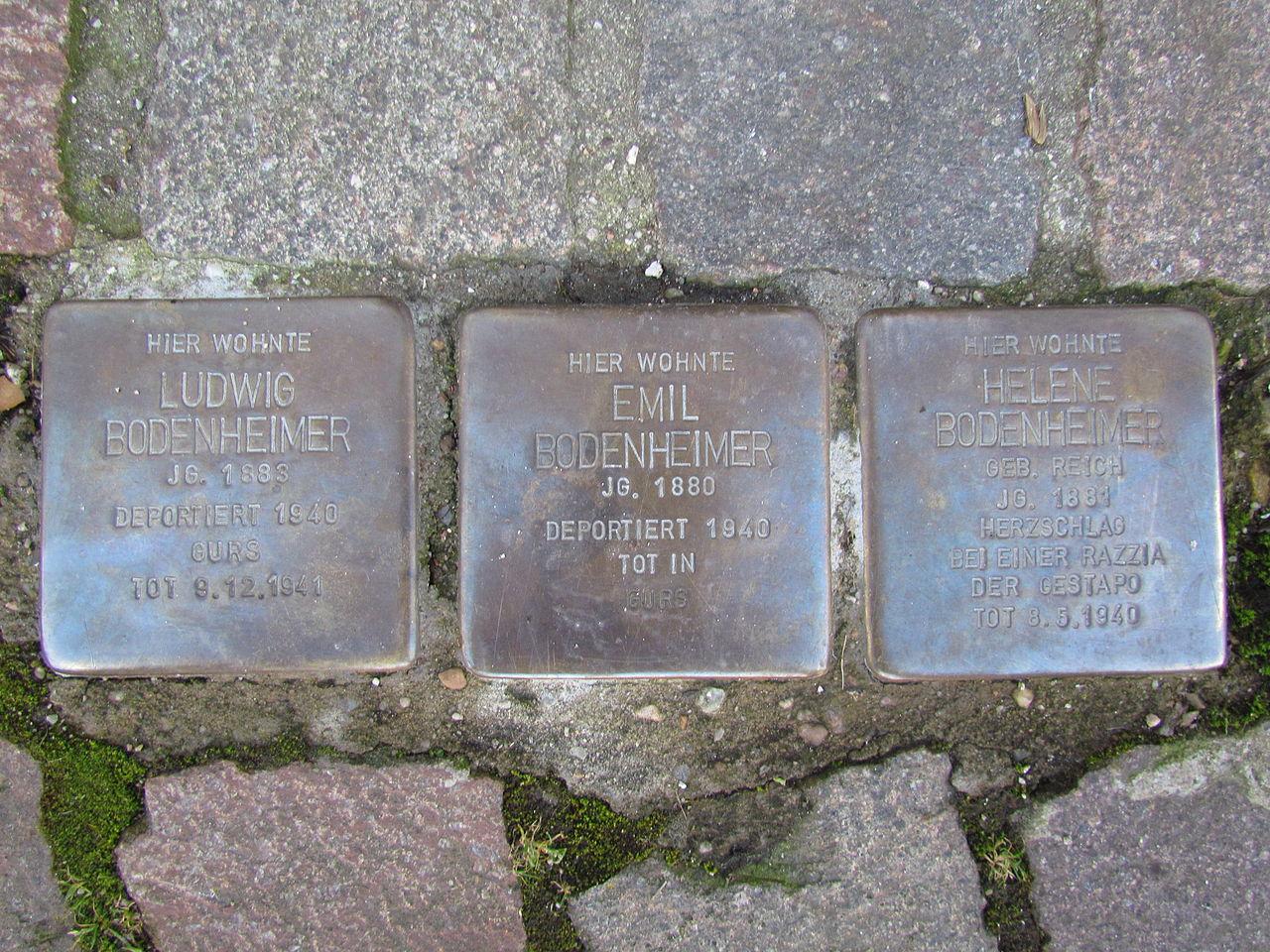 Stolpersteine in Ettlingen Bodenheimer Pforzheimer Str 10 (fcm).jpg