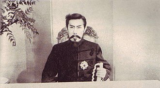 "Emperor Meiji - Stuido Still snap the 1957 Japanese film ""Meiji Tenno to Nichiro Daisenso (Emperor Meiji and the Great Russo-Japanese War)""(Shintoho). Emperor Meiji of Kanjūrō Arashi."