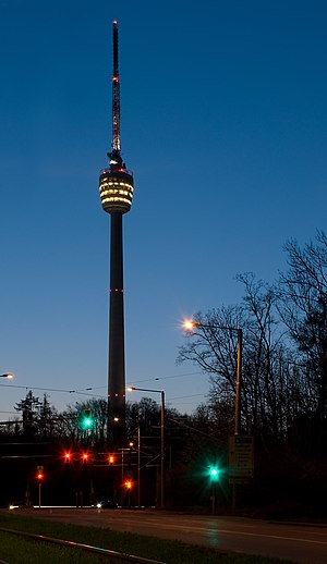 Fernsehturm Stuttgart - Image: Stuttgart TV tower at night