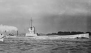 Submarine U-7 at full speed LOC 6358166669.jpg