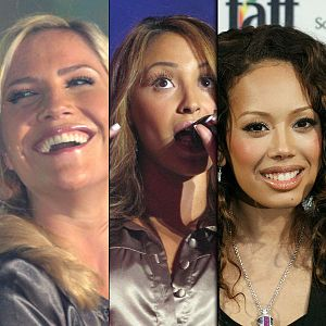 Three images of three women. On the left, a blonde woman is smiling and laughing. In the middle, a brunette woman is singing. On the right, a dark-haired woman is smiling.