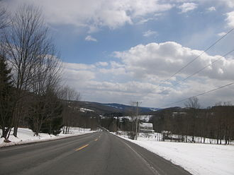 Callicoon, New York - County Route 149 as it passes through the snowy landscape of the Town of Callicoon.