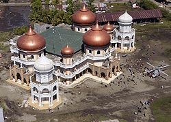 The great mosque of Meulaboh after the 2004 tsunami.