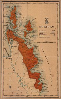 An old map showing the current territories of the province as part of the province of Surigao