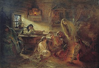 Konstantin Makovsky - Christmastide Divination. Historic paintings of Russian peasant life made Konstantin Makovsky popular in Russia