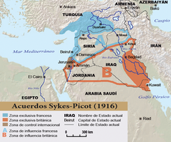 En los Acuerdos Sykes-Picot, el Reino Unido consiguió el dominio de Jordania, que obtuvo un corredor desértico al este para comunicar Iraq con Transjordania, ambas ocupadas por los británicos.