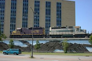 Twin Cities and Western Railroad - A Twin Cities and Western Railroad train waits in downtown Saint Paul, Minnesota.